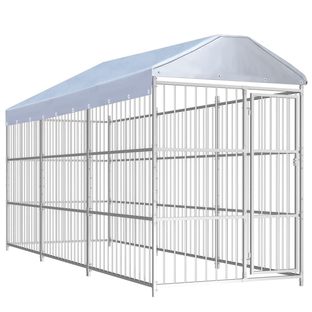 vidaXL Padoc pentru câini de exterior, cu acoperiș, 450x150x200 cm poza vidaxl.ro