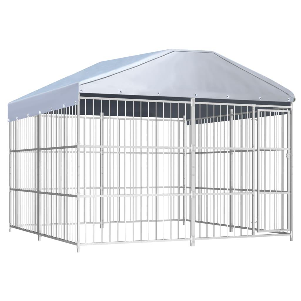 vidaXL Padoc de exterior cu acoperiș pentru câini, 300x300x200 cm poza vidaxl.ro
