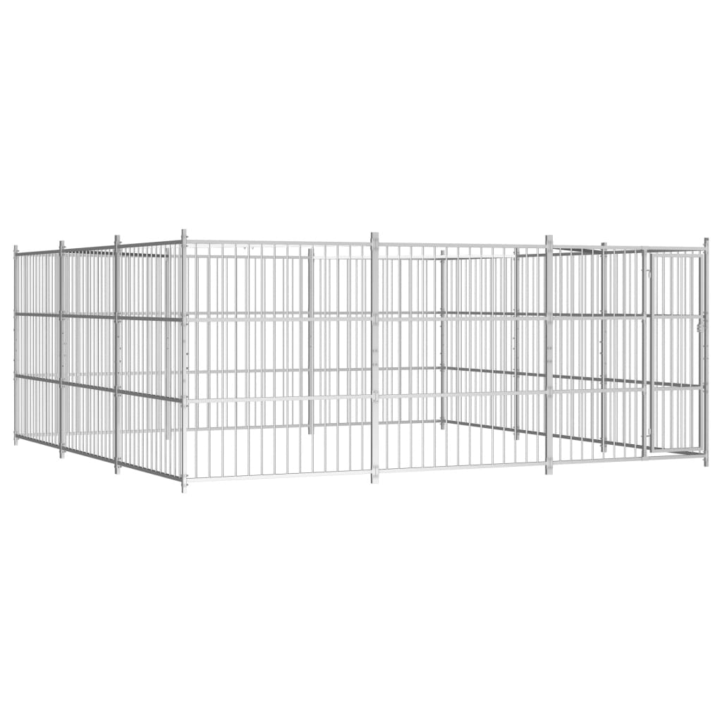 vidaXL Padoc pentru câini de exterior, 450x450x185 cm poza 2021 vidaXL