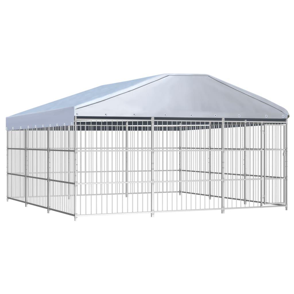 vidaXL Padoc pentru câini de exterior, cu acoperiș, 450x450x200 cm imagine vidaxl.ro