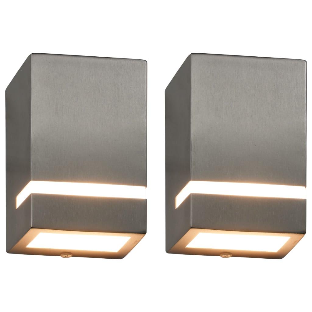 Comwinkel Buitenwandlampen 2 st 35 W rechthoekig zilverkleurig