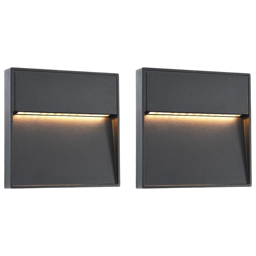 vidaXL Φωτιστικά Τοίχου LED Εξωτερικού Χώρου Τετράγωνα 2 τεμ. Μαύρα 3W