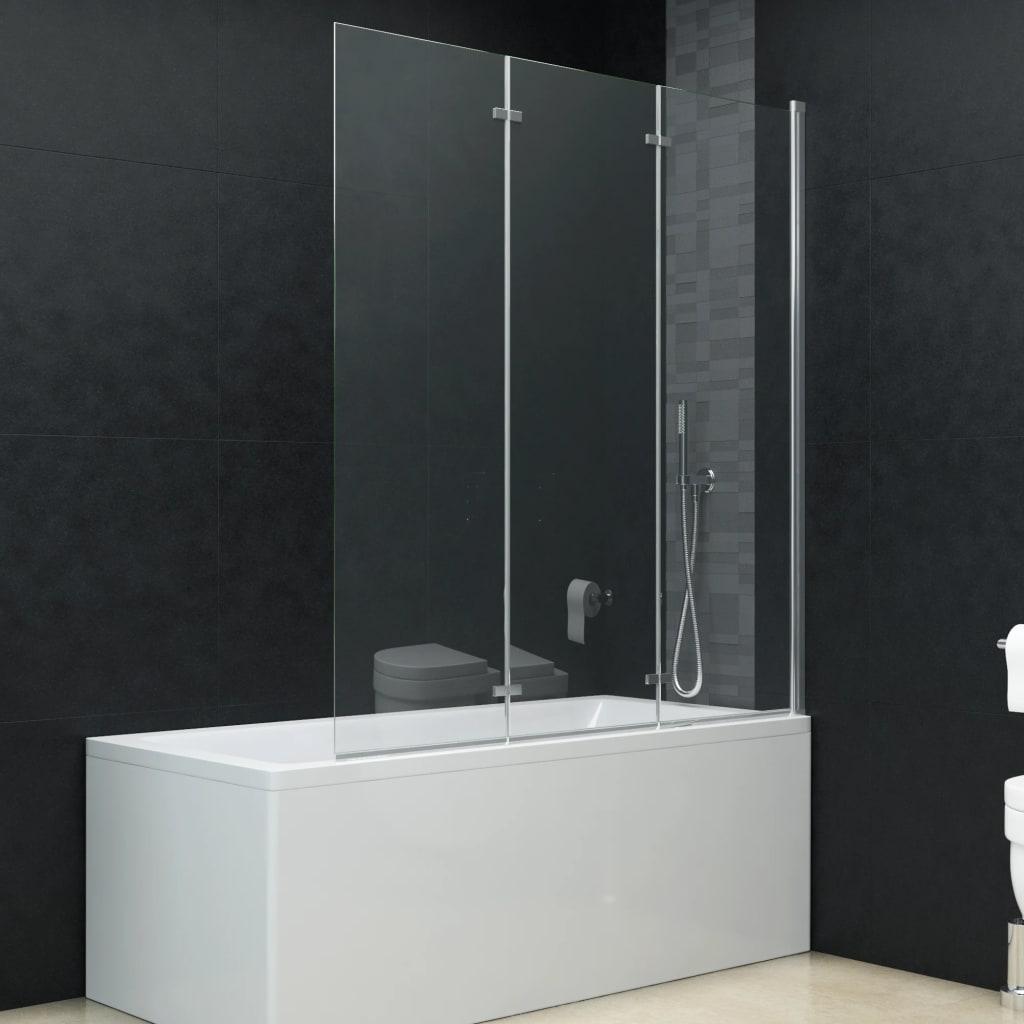 vidaXL Cabină de duș pliabilă, 3 panouri, 130 x 138 cm, ESG imagine vidaxl.ro