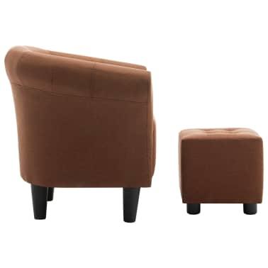 vidaXL Krėslo ir taburetės rinkinys, 2 dalių, rudos sp., audinys[3/9]