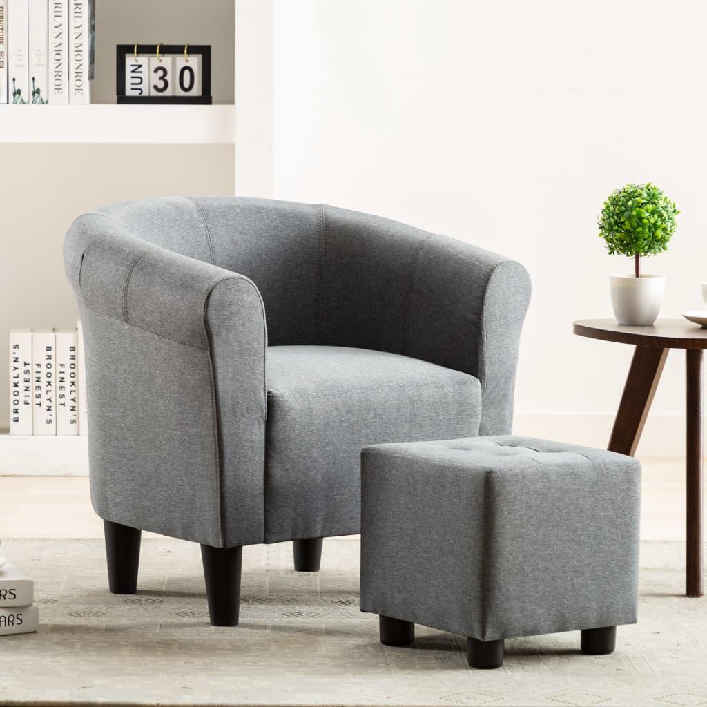vidaXL 2dílná sada křeslo a stolička světle šedá textil