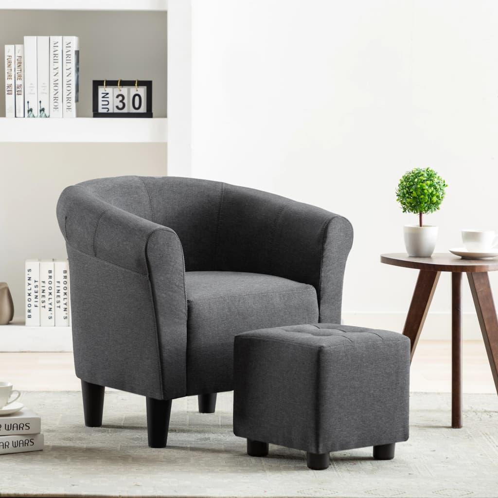 vidaXL 2dílná sada křeslo a stolička tmavě šedá textil