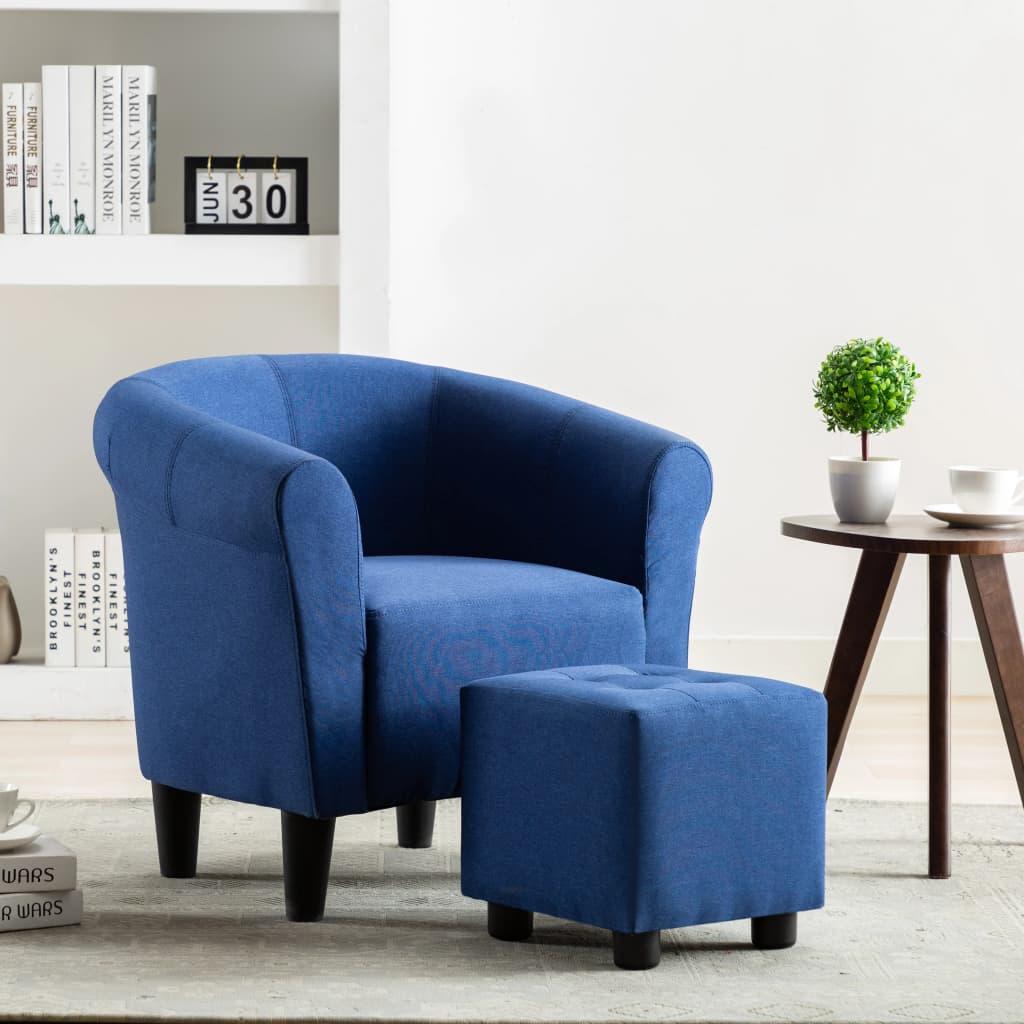 vidaXL 2dílná sada křeslo a stolička modrá textil