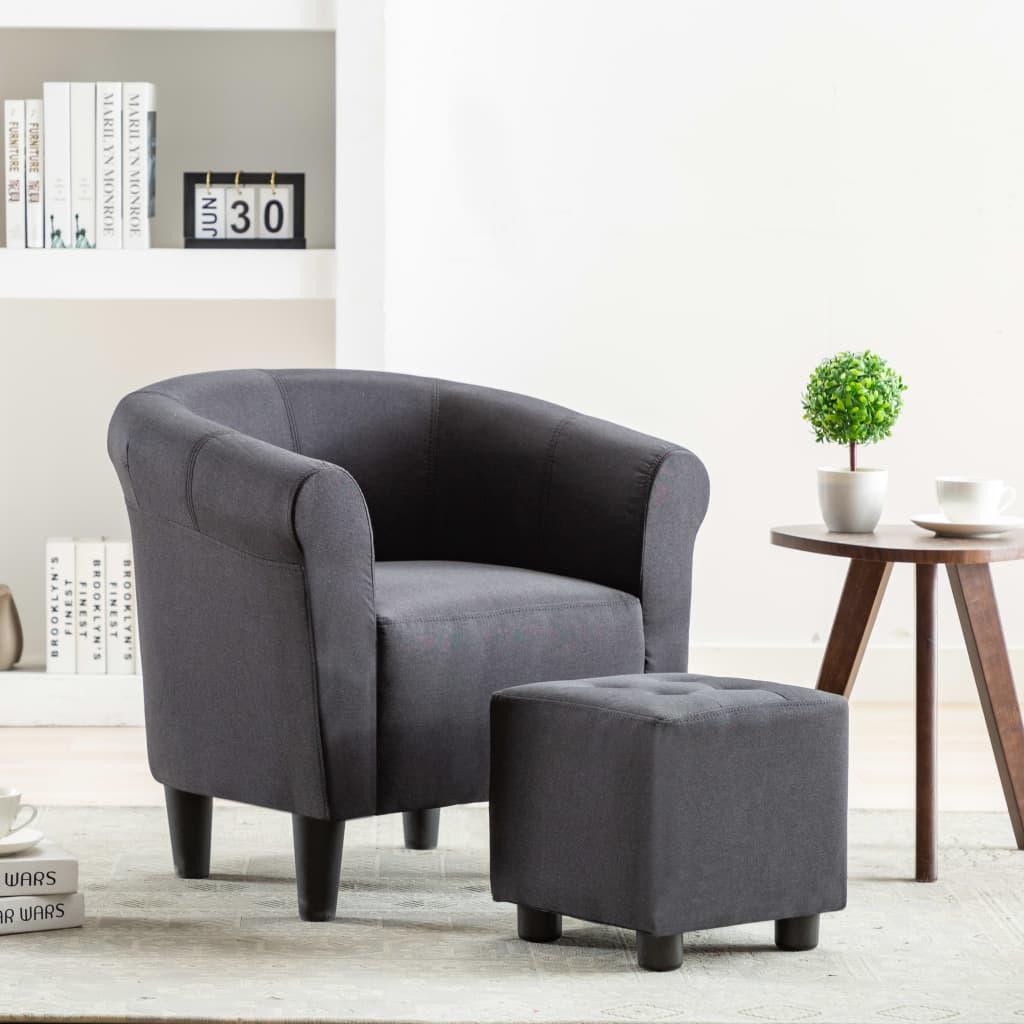 vidaXL 2dílná sada křeslo a stolička černá textil