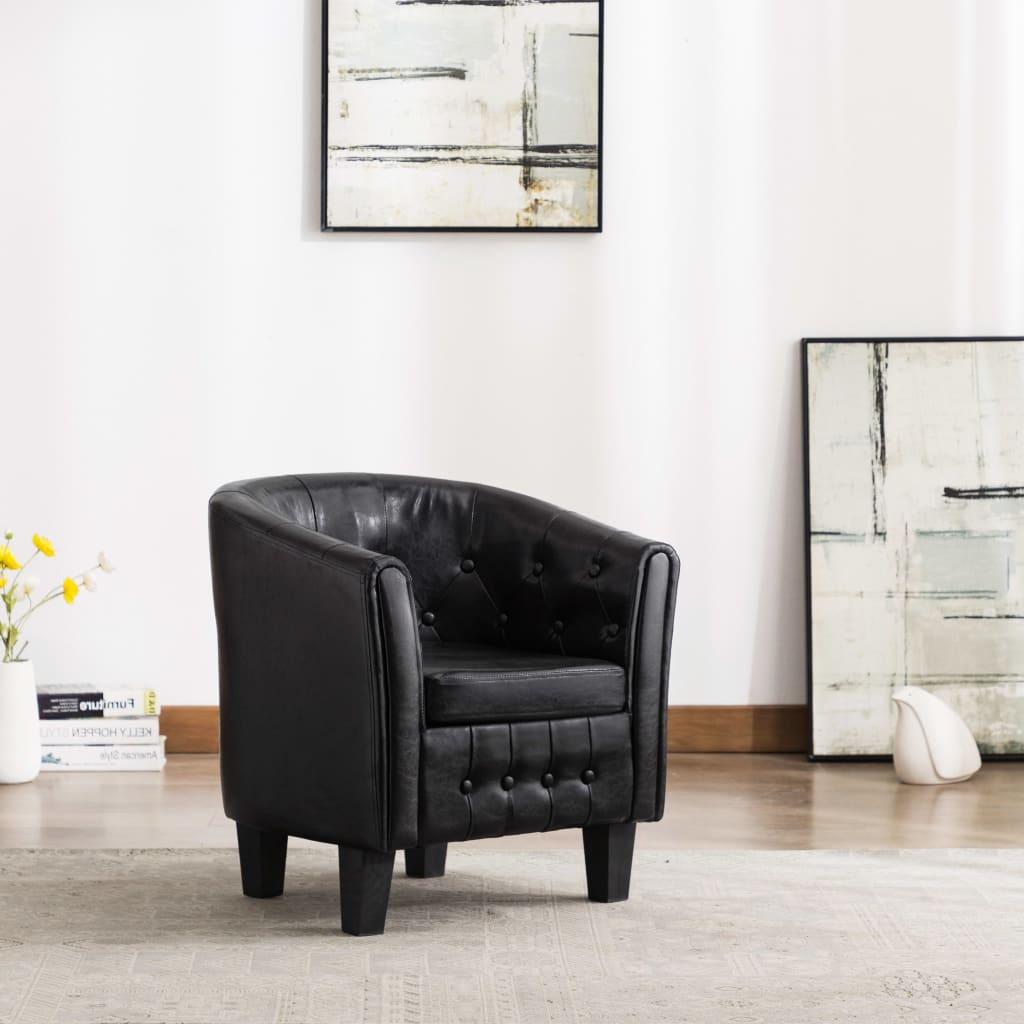 vidaXL klubkrēsls, melna mākslīgā āda