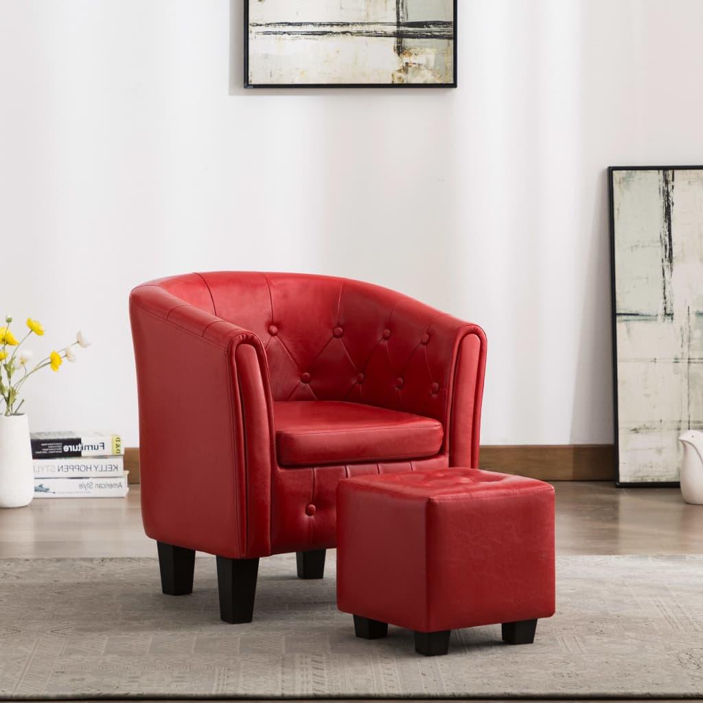 vidaXL Fotoliu cu taburet, roșu, piele ecologică poza 2021 vidaXL
