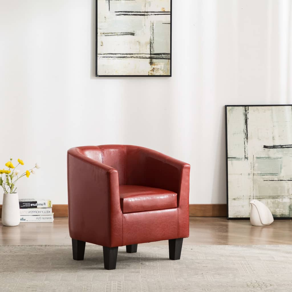 vidaXL Fotelja od umjetne kože crvena boja vina