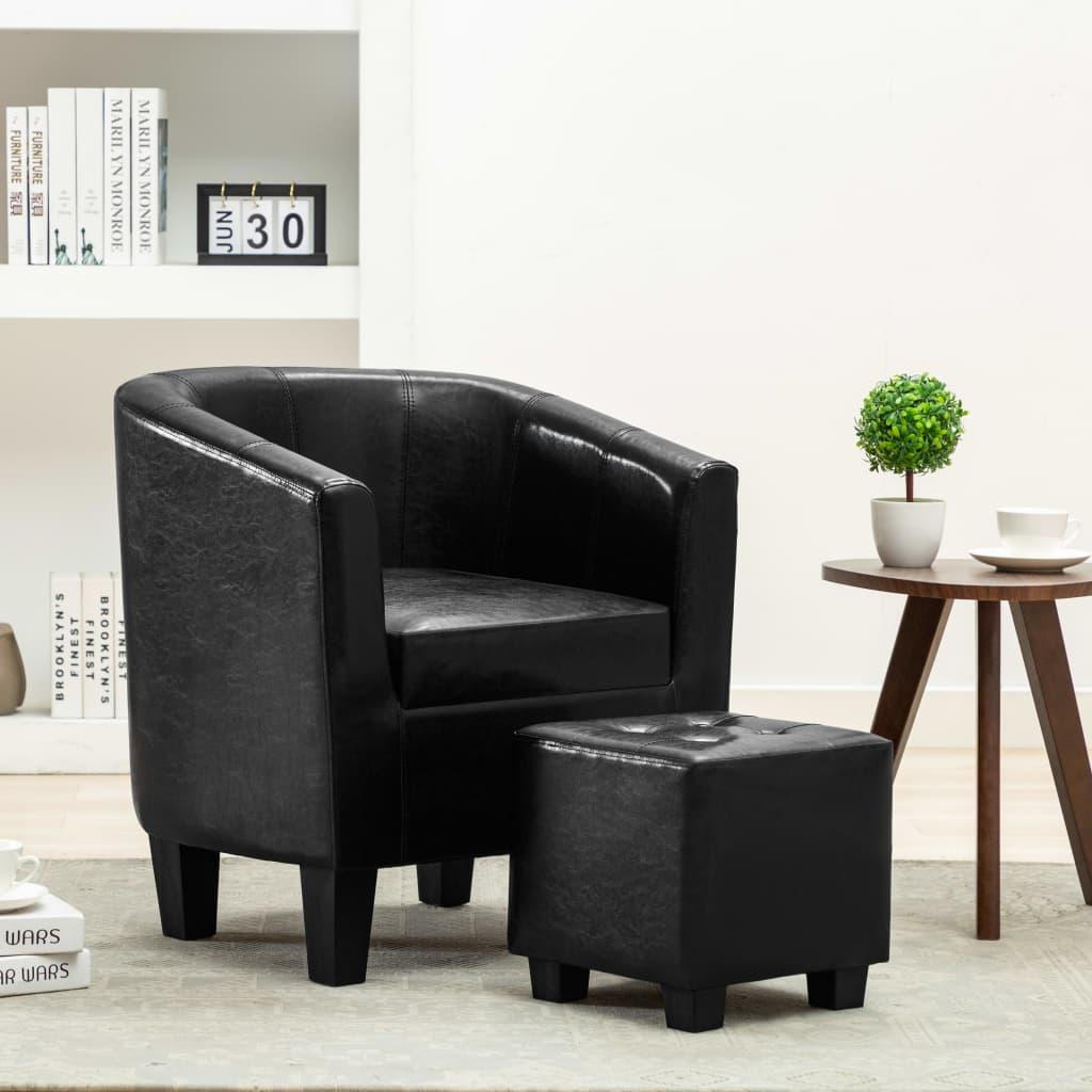 vidaXL Fotel z podnóżkiem, czarny, sztuczna skóra