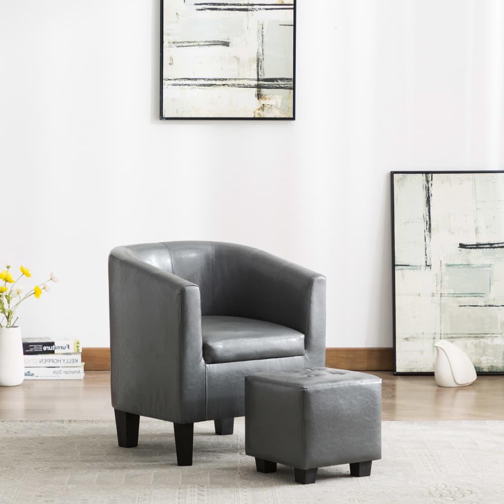 vidaXL Fotel z podnóżkiem, szary, sztuczna skóra