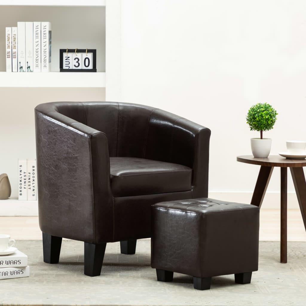 vidaXL Fotel klubowy z podnóżkiem, ciemnobrązowy, sztuczna skóra