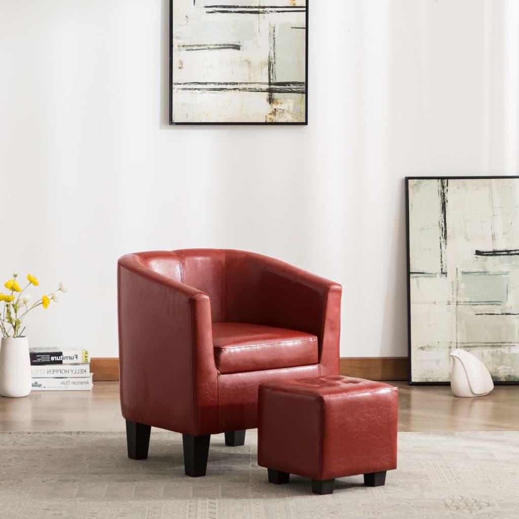 vidaXL Fotel z podnóżkiem, czerwone wino, sztuczna skóra