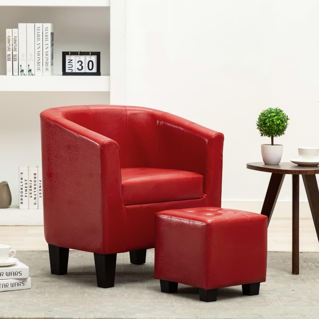 vidaXL Fotel klubowy z podnóżkiem, czerwony, sztuczna skóra