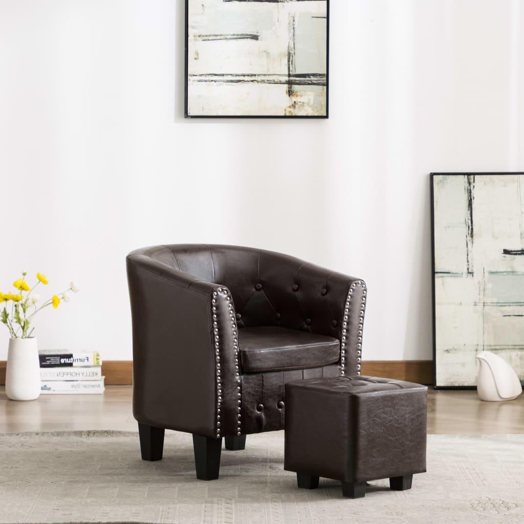 vidaXL Fotel klubowy z podnóżkiem, brązowy, sztuczna skóra