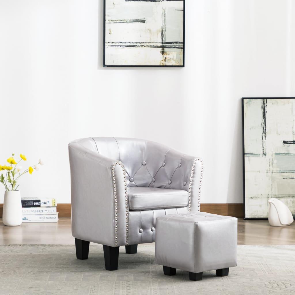 vidaXL Fotel klubowy z podnóżkiem, lśniący srebrny, sztuczna skóra