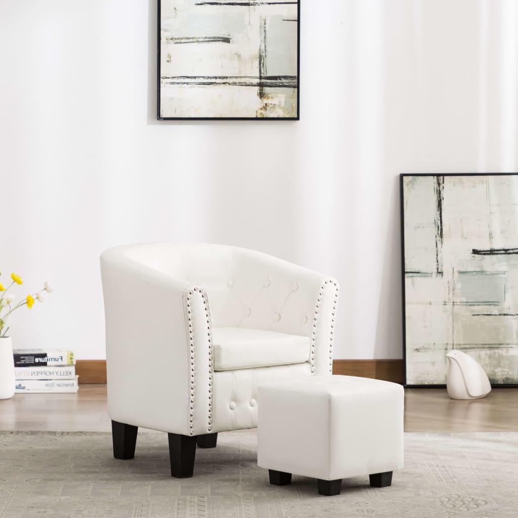 vidaXL Fotel klubowy z podnóżkiem, biały, sztuczna skóra