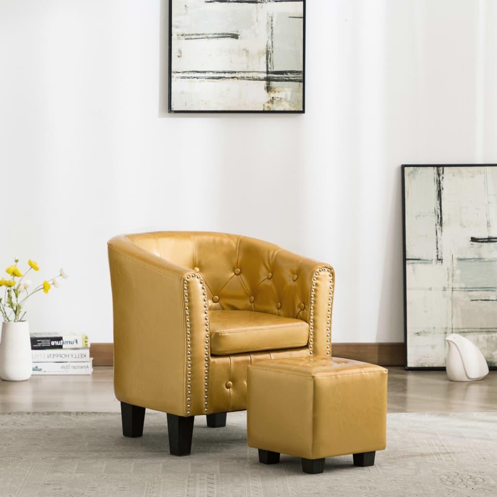 vidaXL Fotel klubowy z podnóżkiem, lśniący złoty, sztuczna skóra