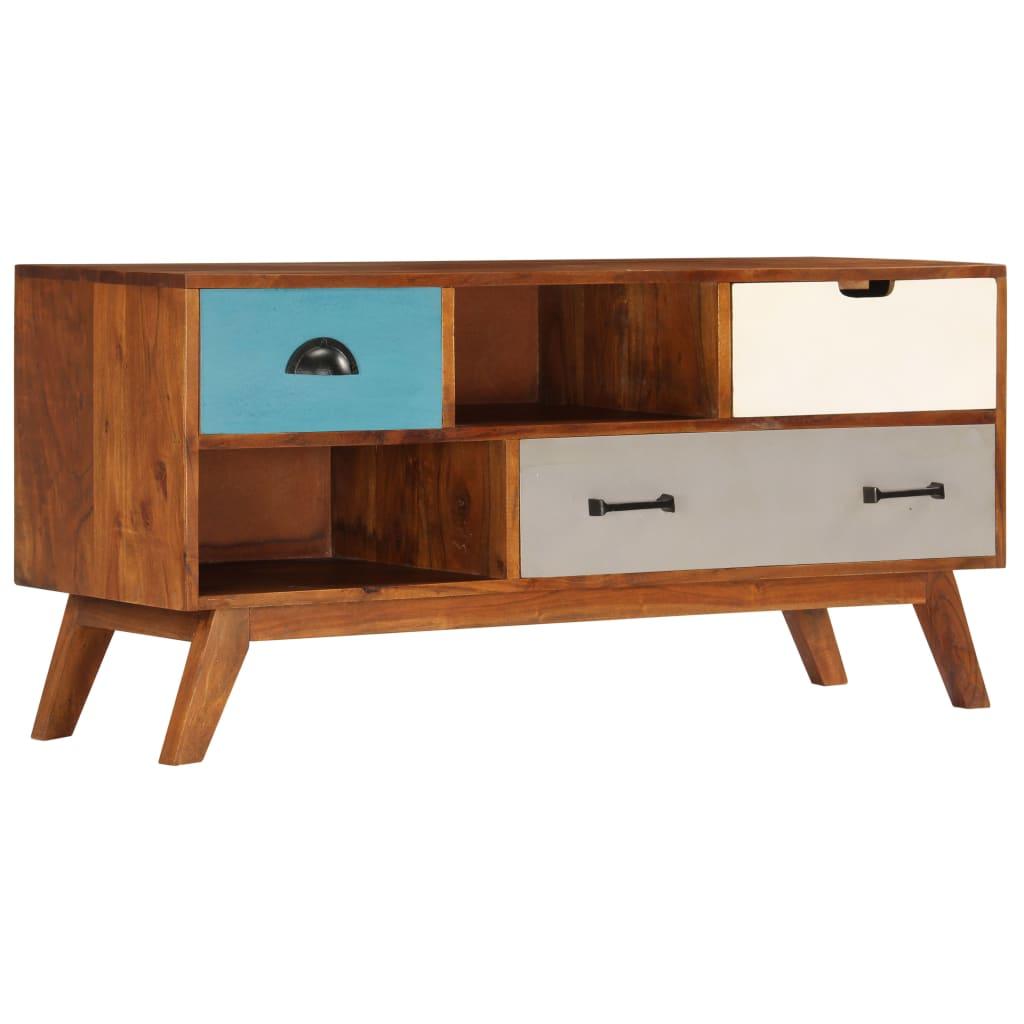 vidaXL Szafka pod TV z 3 szufladami, 110x35x50 cm, drewno akacjowe