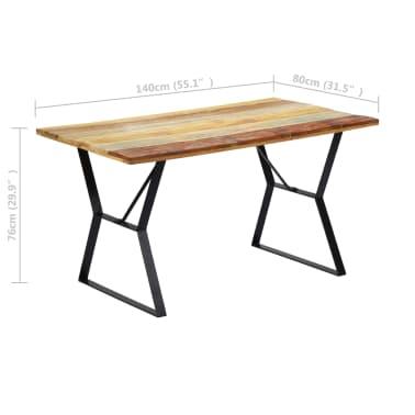 vidaXL Eettafel 140x80x76 cm massief gerecycled hout[7/12]
