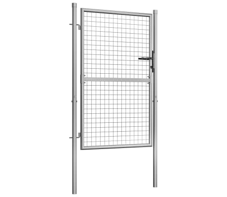 vidaXL Tuinpoort 105x175 cm gegalvaniseerd staal zilverkleurig[2/5]