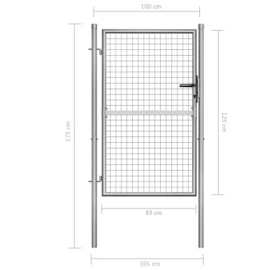 vidaXL Tuinpoort 105x175 cm gegalvaniseerd staal zilverkleurig[5/5]