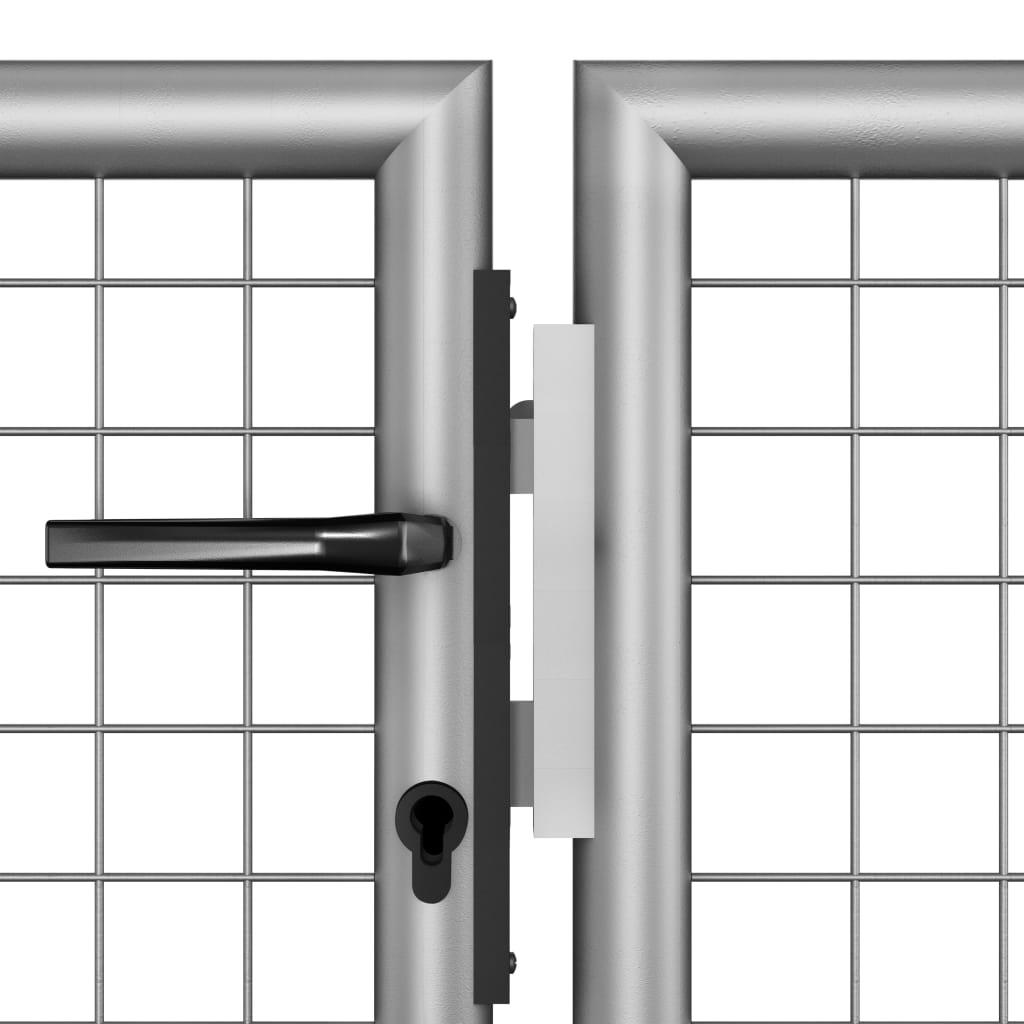 Poort 306x200 cm gegalvaniseerd staal zilverkleurig