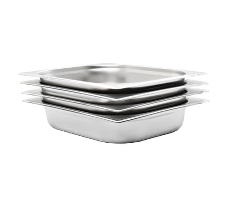 vidaXL Gastronormkantiner 4 st GN 1/2 65 mm rostfritt stål