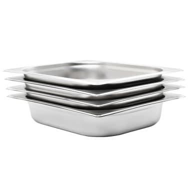vidaXL Tace gastronomiczne, 4 szt., GN 1/2, 65 mm, stal nierdzewna[1/10]