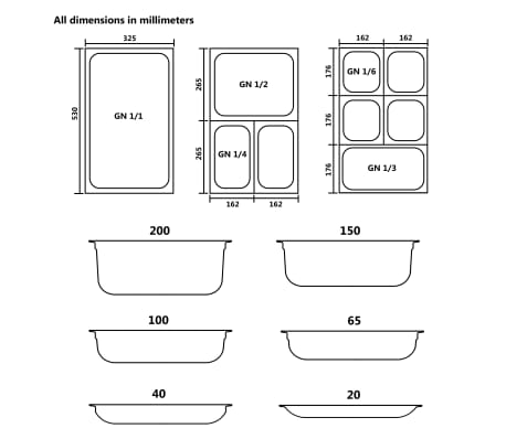 vidaXL Tace gastronomiczne, 4 szt., GN 1/2, 65 mm, stal nierdzewna[9/10]
