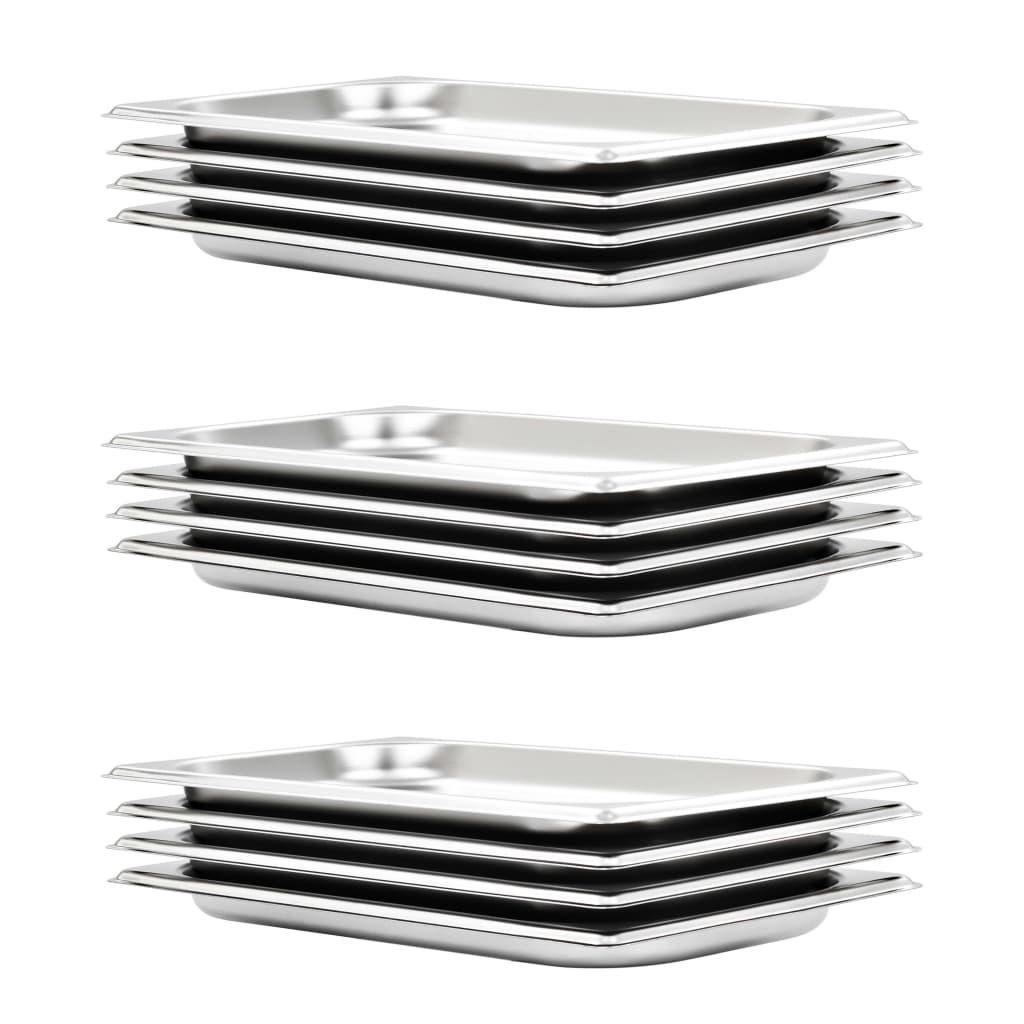 vidaXL Recipiente Gastronorm 12 buc. GN 1/3 20 mm oțel inoxidabil imagine vidaxl.ro