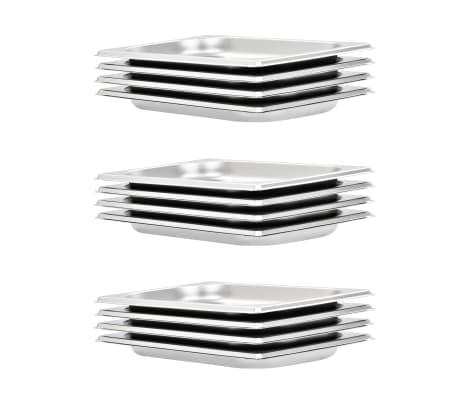 vidaXL Gastronormkantiner 12 st GN 1/4 20 mm rostfritt stål