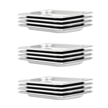 vidaXL Tace gastronomiczne, 12 szt., GN 1/4 20 mm, stal nierdzewna[1/10]