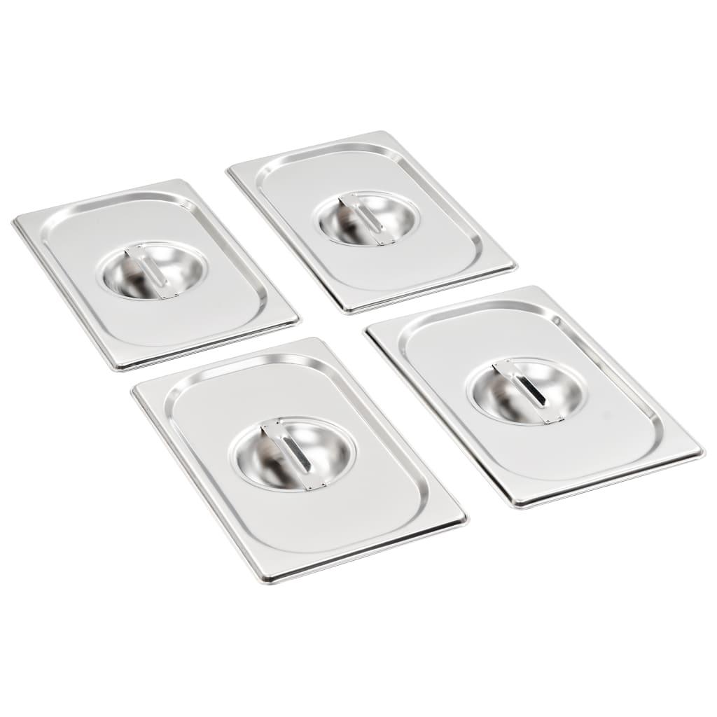 Capace pentru tavă GN 1/4, 4 buc., oțel inoxidabil imagine vidaxl.ro