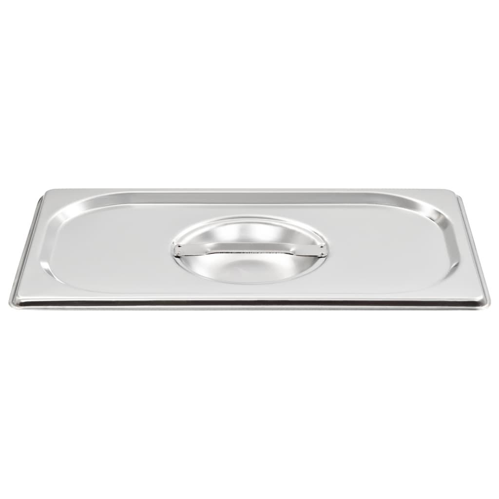 vidaXL Víka na gastronádoby 1/4 GN 4 ks nerezová ocel