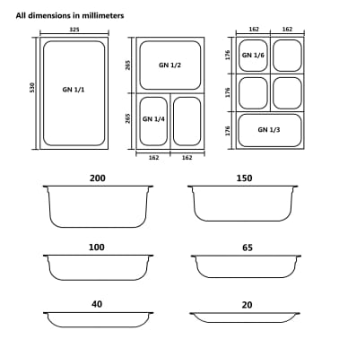 vidaXL Maisto gaminimo indai, 8vnt., GN 1/6, 200mm, nerūd. plien.[9/10]