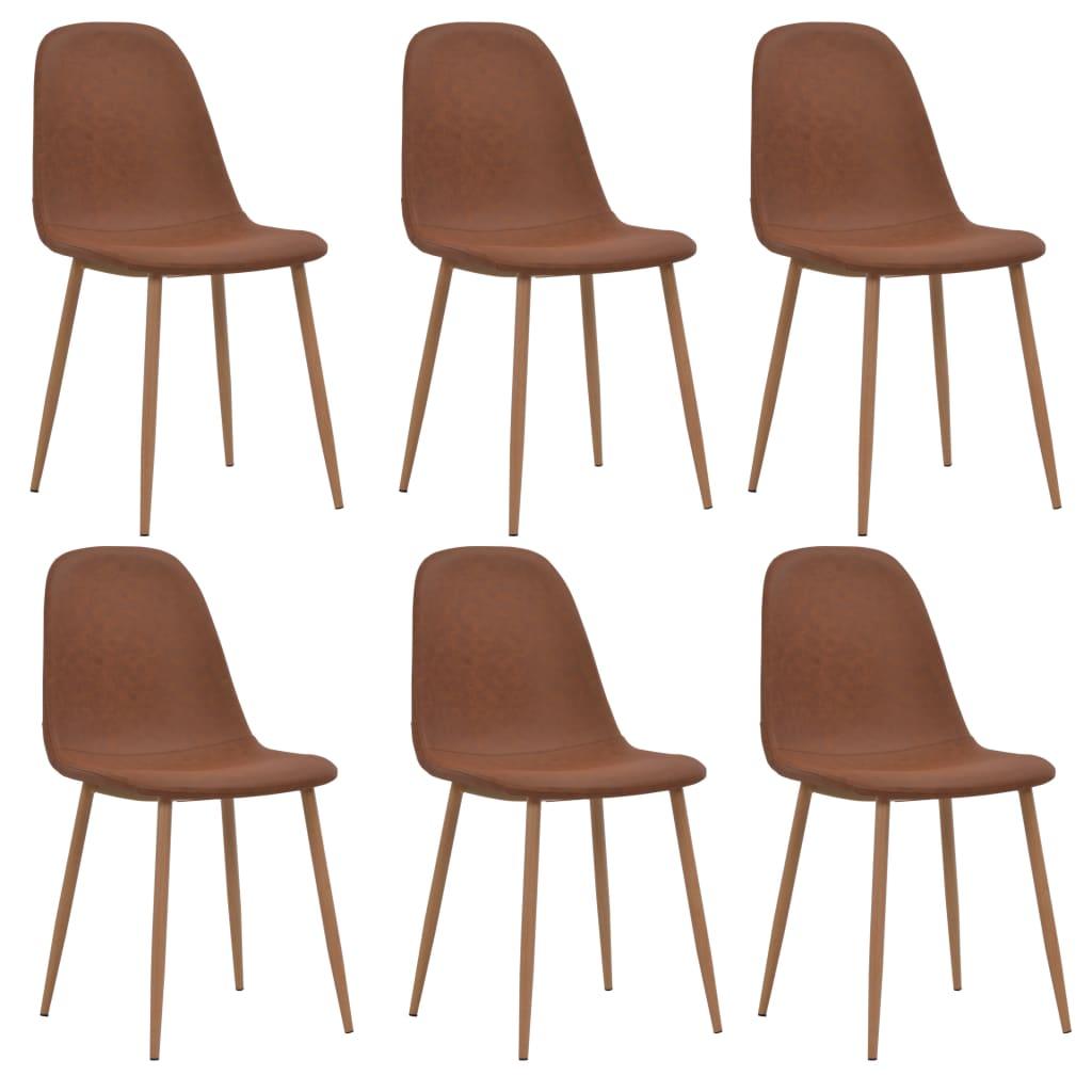 vidaXL Καρέκλες Τραπεζαρίας 6 τεμ. Καφέ 46 x 55 x 85 εκ. από Δερματίνη