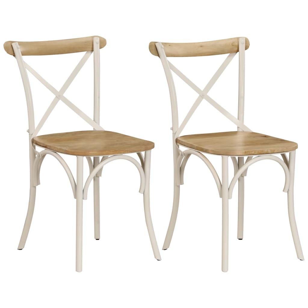 vidaXL Krzesła stołowe, krzyżowe, 2 szt., białe, lite drewno mango