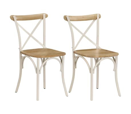 vidaXL Cross Chairs 2 pcs White Solid Mango Wood[1/15]
