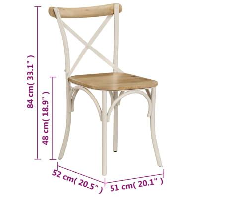 vidaXL Cross Chairs 2 pcs White Solid Mango Wood[11/15]