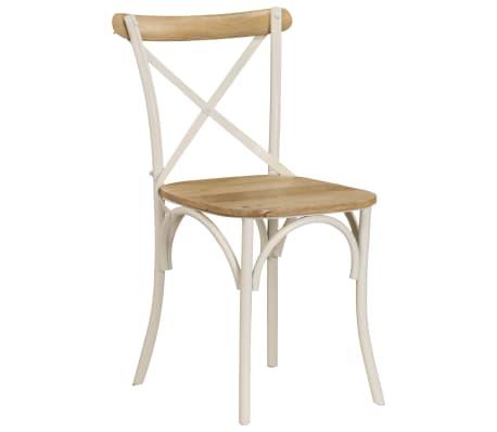 vidaXL Cross Chairs 2 pcs White Solid Mango Wood[12/15]