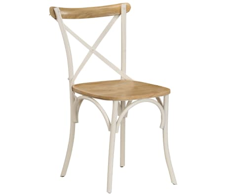 vidaXL Cross Chairs 2 pcs White Solid Mango Wood[13/15]