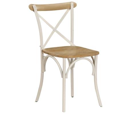 vidaXL Cross Chairs 2 pcs White Solid Mango Wood[14/15]