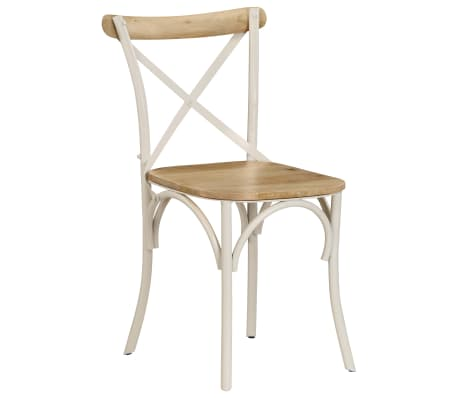vidaXL Cross Chairs 2 pcs White Solid Mango Wood[15/15]