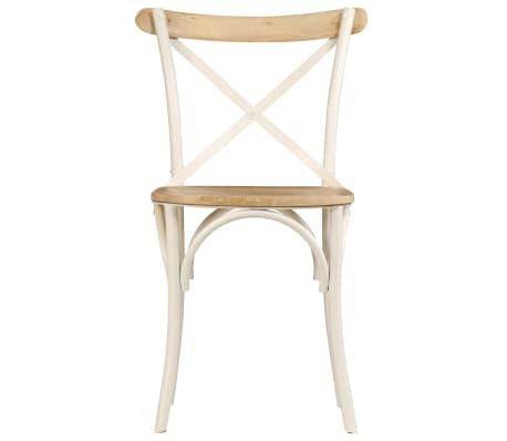 vidaXL Cross Chairs 2 pcs White Solid Mango Wood[4/15]