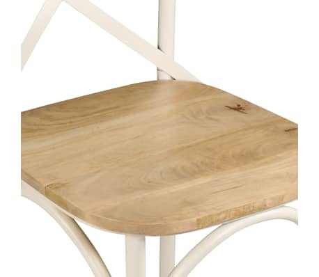 vidaXL Cross Chairs 2 pcs White Solid Mango Wood[8/15]