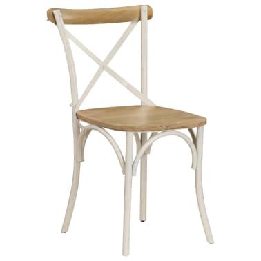 vidaXL Cross Chairs 2 pcs White Solid Mango Wood[2/15]