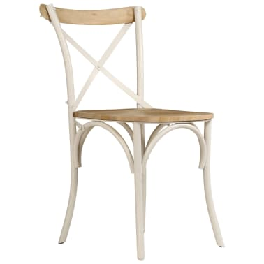 vidaXL Cross Chairs 2 pcs White Solid Mango Wood[3/15]